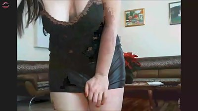 Sexy chubby MILF in tight minidress..