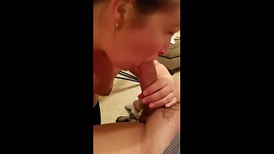 Blowjob with cumshot in wifes mouth..