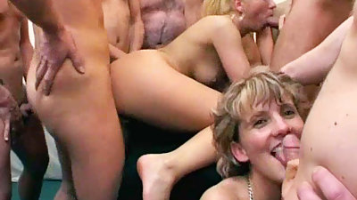 Granny Eats Cum After Gangbang