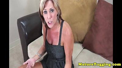 Tanlined milf Felicity Rose tugs and..