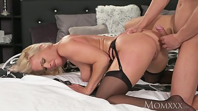 MOM Blonde MILF in stockings and..
