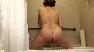 Grandma got back, in the shower