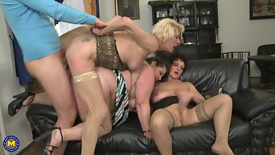 Three mature mothers sharing one young..