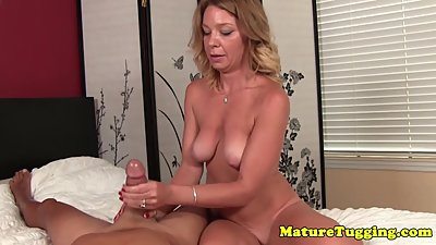 Milf jerking on cock for this lucky..