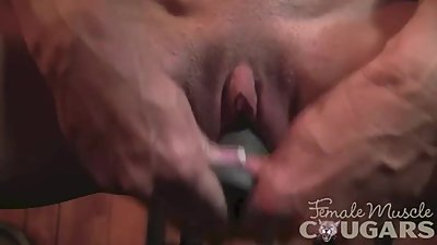 Muscled Mature Masturbates and Fucks a..