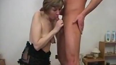 Mature old whore rages behind a young..