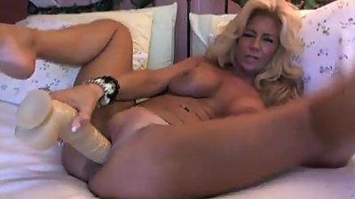 Blonde Mature On Webcam Plays With Her..
