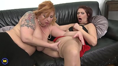 Mature busty mothers fuck each other..