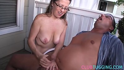 Amateur housewife jerking off hubby..