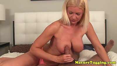 Cock teasing milf edging cock with..