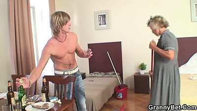 Cleaning mature woman enjoys riding..